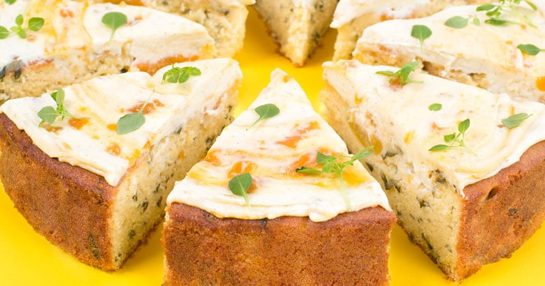 Apricot & Fresh Basil Cake with Apricot Jam Cream Cheese Icing