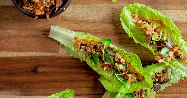 Spiced chicken lettuce cups