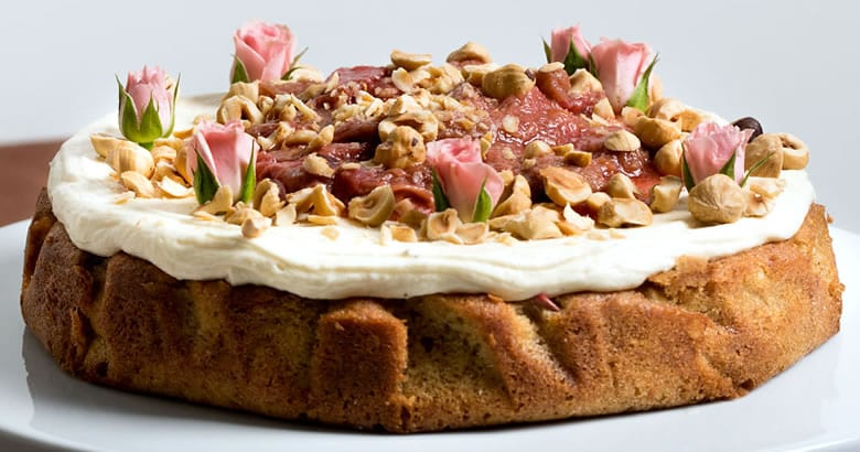 Rhubarb, Orange and Hazelnut Cake With Cream Cheese Icing and Rhubarb Compote