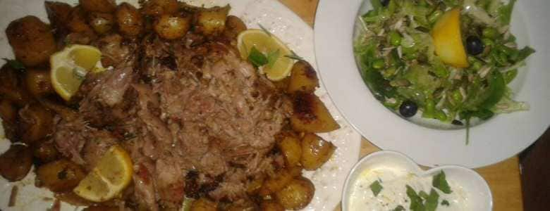 Moroccan Roasted Lamb of Lamb and Potatoes by Louise Hutchings