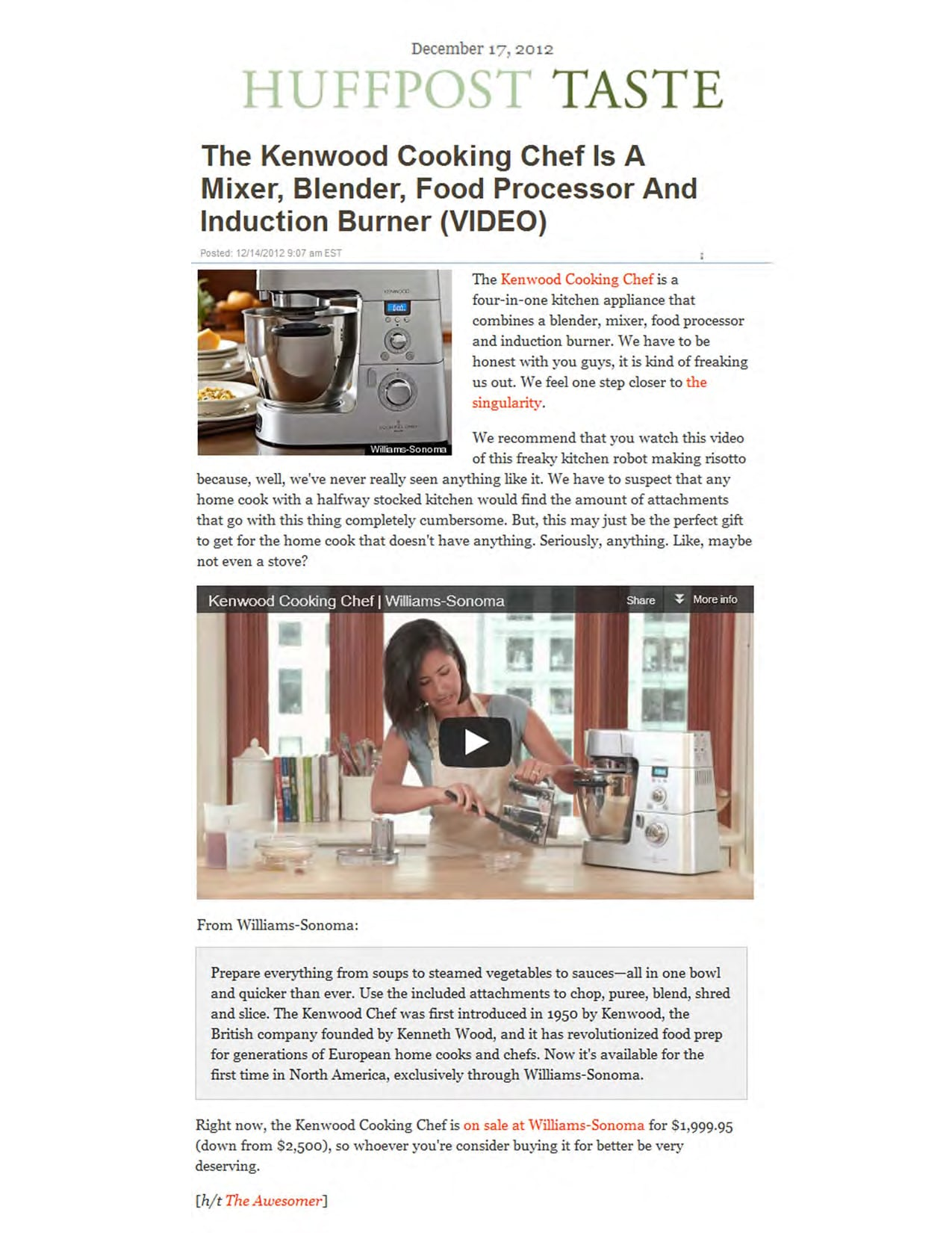 Huff Post Taste Kenwood Cooking Chef
