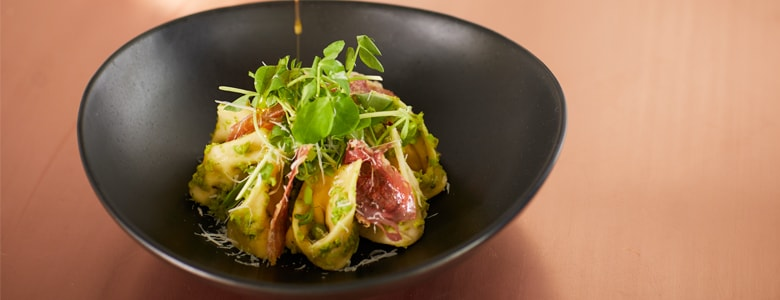 Milly and Jan's Prosciutto, Ricotta and Parmesan Tortelloni with Pea Pesto