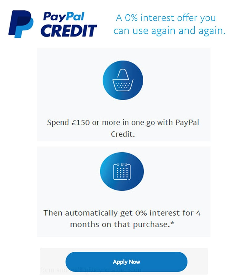 0% interest for 4 months with Paypal