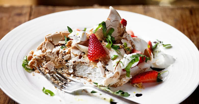 Balsamic, Thyme and Pepper Meringues with Basil Strawberries
