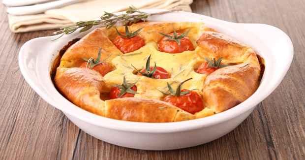 Bacon, Onion and Tomato Clafoutis