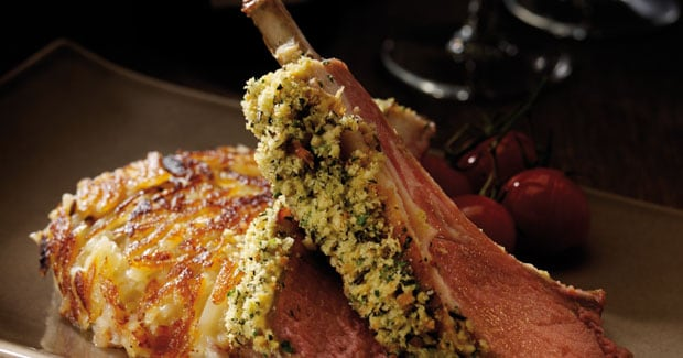 Brioche Crusted Lamb Chops served with a Potato Rosti Recipe