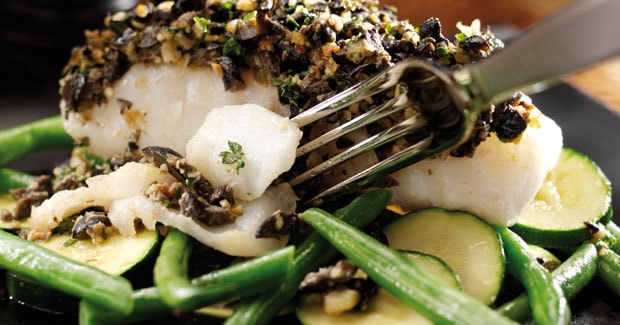 Cod with a Pine Nut Tapenade Crust Recipe