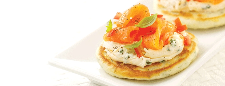 Herby pancakes with cream cheese & smoked salmon