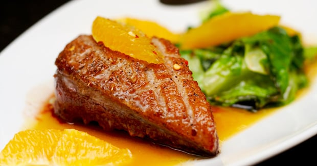 Crispy Duck Parcels with Orange Sauce