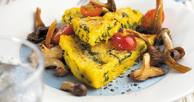 Polenta Verde with Mushroom and Tomato Salsa