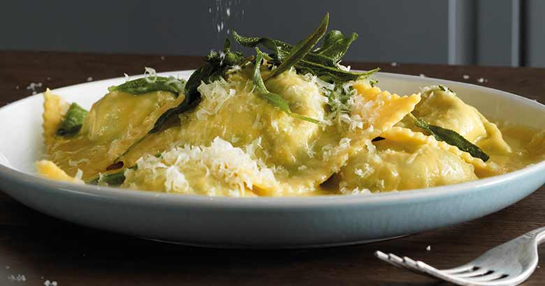 Spinach and ricotta ravioli-with a butter and sage sauce