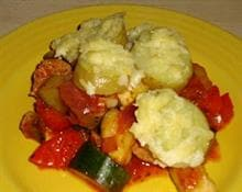 Vegetarian Lincolnshire Sausage and Cheshire Cheese Potato and Vegetable Bake