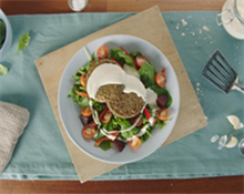 Mushroom Patties with Lentil Salad and Tahini Yoghurt Dressing