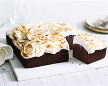 Choc brownie meringue cake