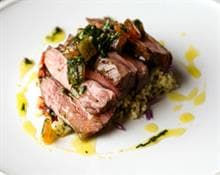 Roasted Lamb Chump, Cracked Wheat, Tomato and Herb Verde Sauce by The Woodspeen