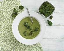 Five Greens Detox Soup with Kale Chips