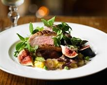Duck with Asparagus, Figs, Pea Shoots and Polenta