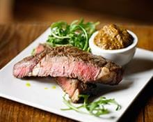 Rib Eye Steak with smoked Aubergine Purée and Rocket
