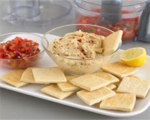 Various Dips with wafer biscuits