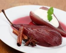 Poached Pears and Apples in Spiced Wine