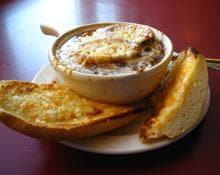 Red Onion Soup with Ciabatta Croutons