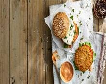Vegetarian cheesy chickpea burgers