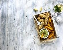 Nut-crusted Fish Goujons and Butternut Squash Chips