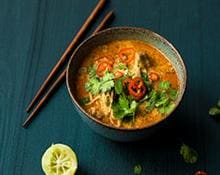 Chicken Laksa Soup with Egg Noodles