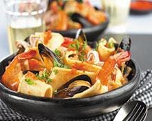 Pasta Ribbons with Shellfish and Red Pepper Puree