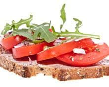 Bruschetta with Garlic Brandade, Tomato, Rocket and Mozzarella