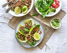Pork Larb in Crunchy Lettuce Wraps