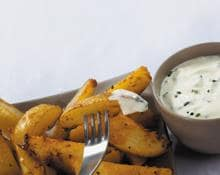 Spicy Wedges with Soured Cream and Chive & Tomato Chilli Dips recipe